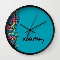 keith haring Wall Clocks featuring Keith Haring: The Tree of Monkeys by cvrcak