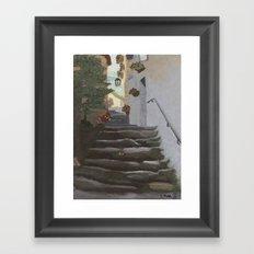 Italian Street and Stairs  Framed Art Print