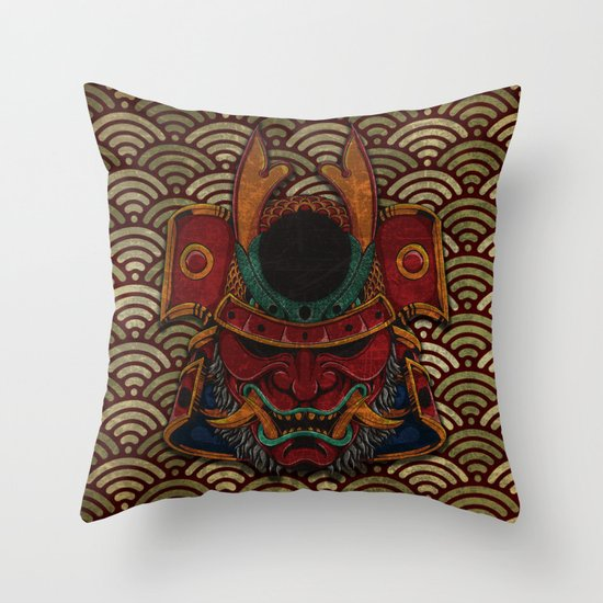 samurai mask Throw Pillow