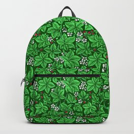 Art Nouveau Strawberries and Leaves, Emerald Green Backpack