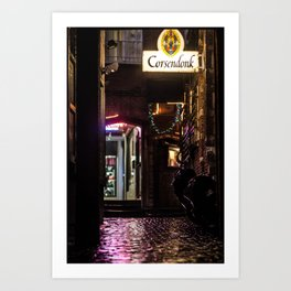 Nice alley in Brussels at night Art Print