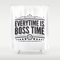 springsteen Shower Curtains featuring Every time is Boss time (Springsteen tribute) by My Brave Face