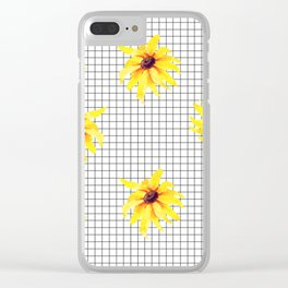 Watercolor Floral on Grid Clear iPhone Case