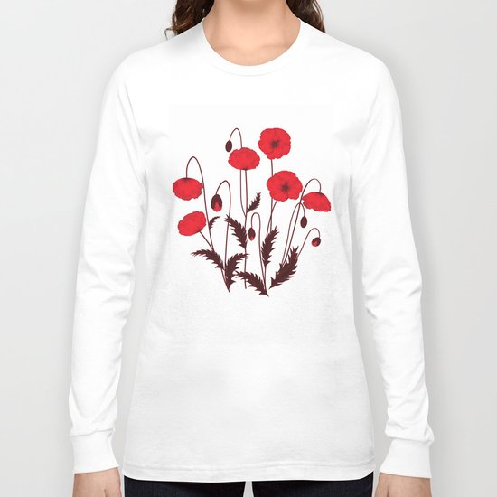 Bright floral pattern on a white background with decorative elements. Long Sleeve T-shirt