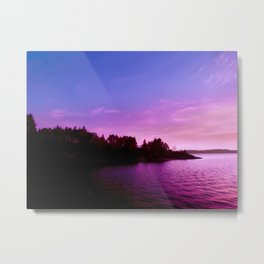 Northern Lights at Sunset Metal Print