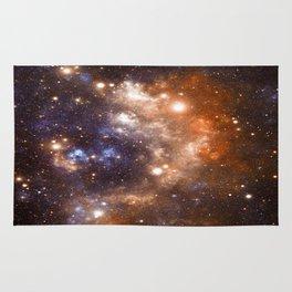 Galaxy Nebula Blue Copper Rug