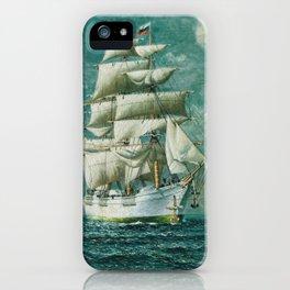 Vintage Large White Sailboat Painting (1895) iPhone Case