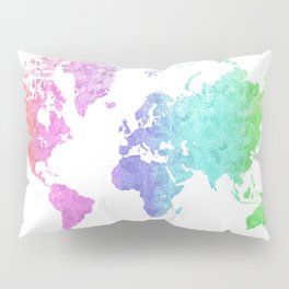 """Rainbow world map in watercolor style """"Jude"""" Pillow Sham"""