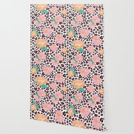 Leopard and watercolor roses pattern  Wallpaper
