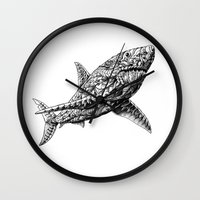 bioworkz Wall Clocks featuring Great White by BIOWORKZ