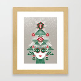 Christmas woman tree Framed Art Print