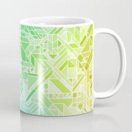 Bright Gradient (Violet Purple Lime Green Neon Yellow) Geometric Pattern Print Coffee Mug