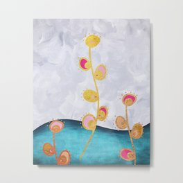 Flowers Gold and Pink Metal Print