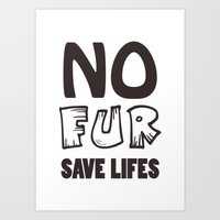 No fur sign in vector, ethical signature for any design Art Print