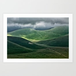 The hills of Castelluccio during a thunderstorm Art Print