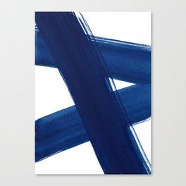Indigo Abstract Brush Strokes   No. 4 Canvas Print