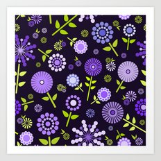 Retro purple flowers  Art Print