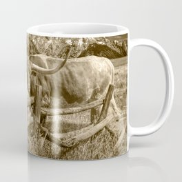 Texas Longhorn Steer by an Old Wooden Fence in Sepia Tone Coffee Mug