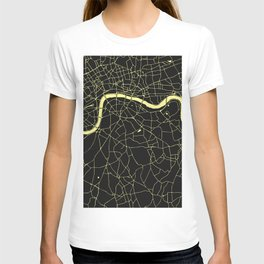 London Black on Yellow Street Map T-shirt