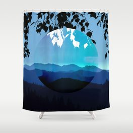 Mountains and Leaves in Blue and Black Shower Curtain