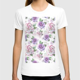 Modern hand painted purple lavender watercolor roses floral T-shirt