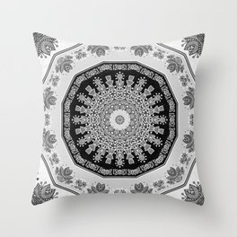 Shades of Grey - Geometric Floral Pattern Throw Pillow
