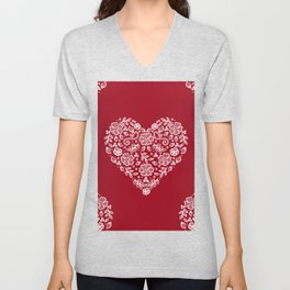Red Heart Lace Flowers Unisex V-Neck