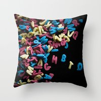 letters Throw Pillows featuring Letters by Emma Rödström