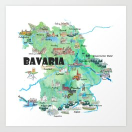Bavaria Germany Illustrated Travel Poster Map Art Print