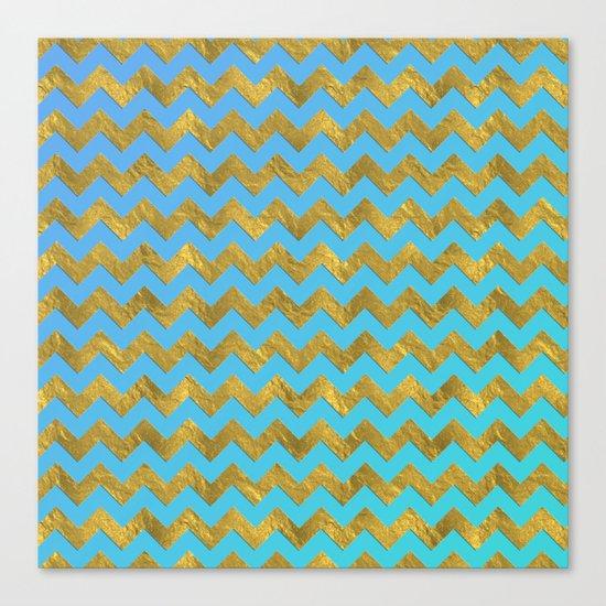 Gold glitter chevron on turquoise backround- pattern Canvas Print