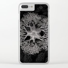 Jellyfish (Black and White) Clear iPhone Case