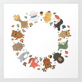 cute animal family Art Print