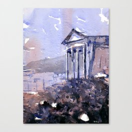 Watercolor painting of Roman temple at the ruins of Dougga in Tunisia- Africa. Canvas Print