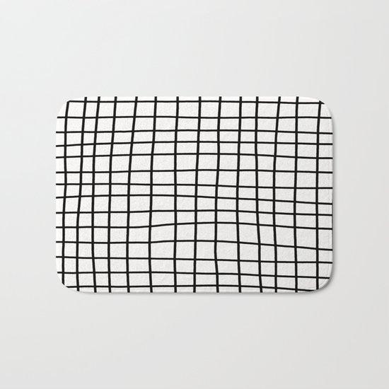 Handdrawn Grid Bath Mat