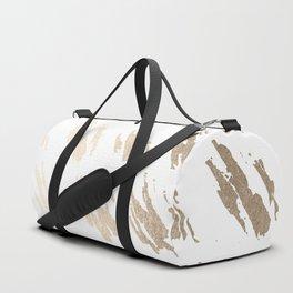 Luxe Gold Brush Polka Splotch on White Duffle Bag