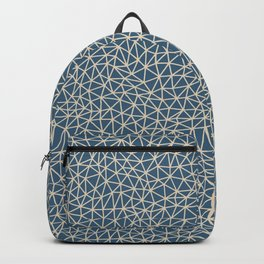 Blue & Beige Abstract Multi Sized Triangle Pattern Pairs To 2020 Color of the Year Chinese Porcelain Backpack