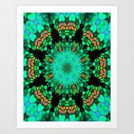Teal Oval Mandala Art Print