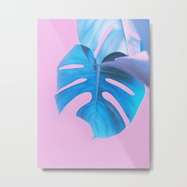 Light Blue Monstera Metal Print