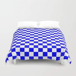Small Checkered - White and Blue Duvet Cover
