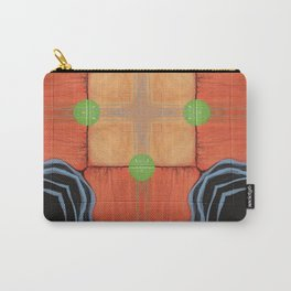 Sojourner // Tribal Geometric Vibrant Visionary Abstract Pattern Orange Black Bohemian Color Shape Carry-All Pouch