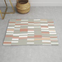 Mosaic Neutrals   Organic Rectangles in Sage, Brick, Peach and White Rug