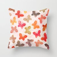 karu kara Throw Pillows featuring BUTTERFLY SEASON by Daisy Beatrice