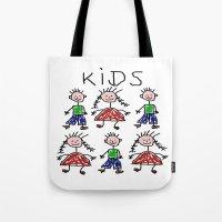 kids Tote Bags featuring Kids by Digital-Art