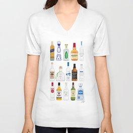 Tequila, Whiskey, Vodka Bottles Illustration Unisex V-Neck