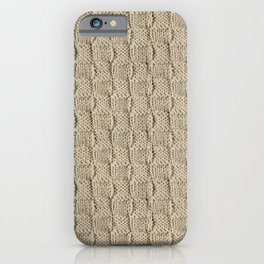 Sepia Knit Textured Pattern iPhone Case