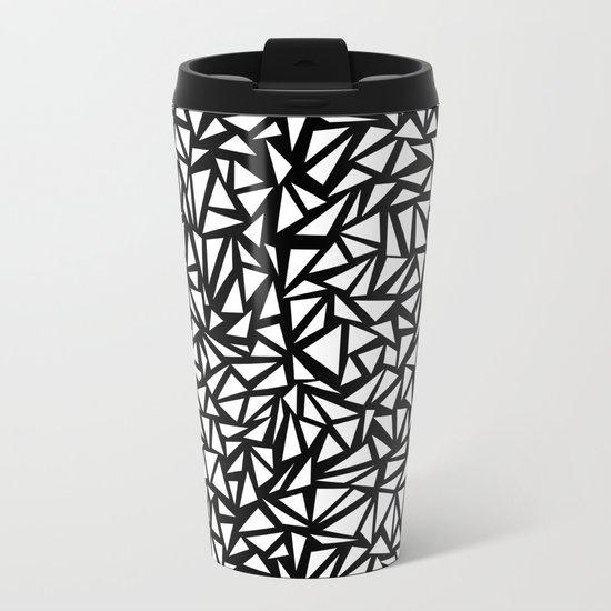 Try Me - memphis modern black and white minimal angular geometric triangle fun 1980s retro  Metal Travel Mug