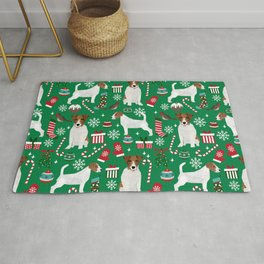 Jack Russell Terrier christmas festive holiday red and green dog lover gifts Rug