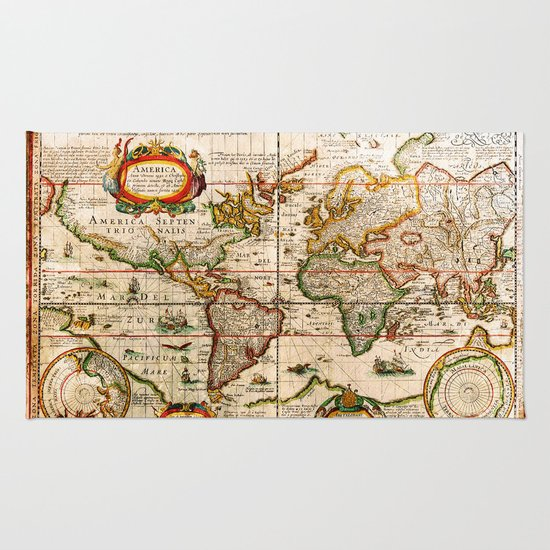 Vintage Map Rug - Vintage Map Rug By Diego Tirigall Society6