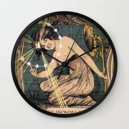 Italian art nouveau street gas lighting ad Wall Clock