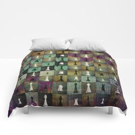Paint and Print  Chessboard and Chess Pieces pattern Comforters